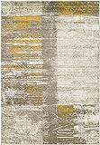 Albertha Mustard, Dark Brown and Light Gray. Modern Area Rug 5'2″ x 7'6″