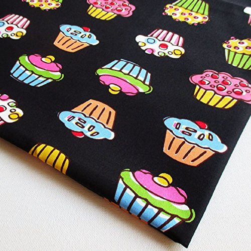 Cupcake Fabric (Cupcake Festival, Breakfast Tea in Paris, Strawberry Sweet cake on Black 36 by 36-Inch Wide (1 Yard) (CT525))