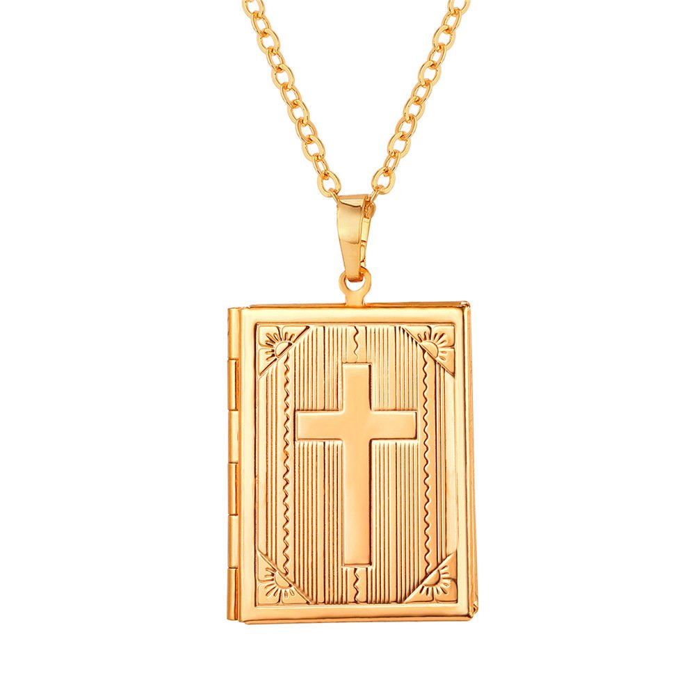 U7 Locket Necklace Gold Charm Women Jewelry 18K Link Chain Cross Design Photo Locket Pendant