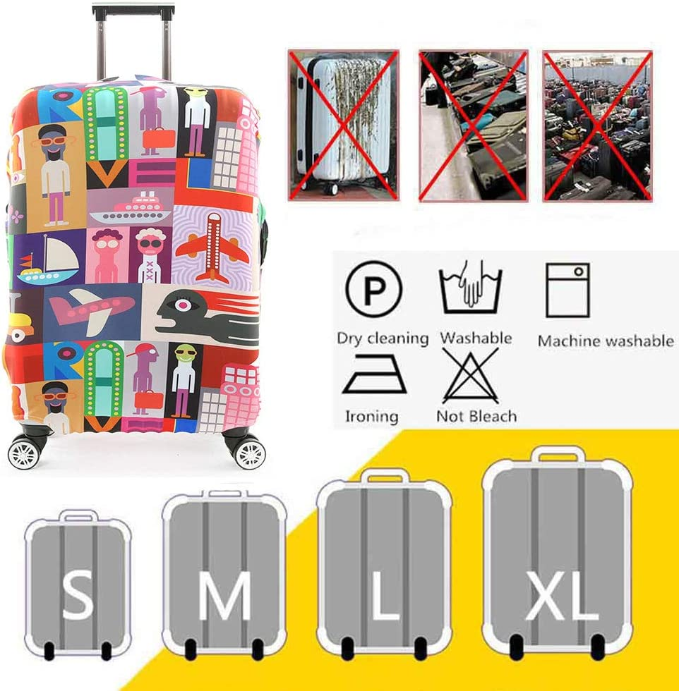 HBWZ Travel Luggage Cover Trolley Case Protective Cover Fits 18-32 Inch Luggage,C,L