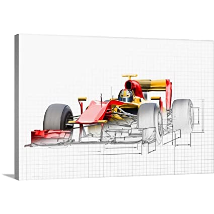 Amazon Com Unfinished Drawing Of Red Race Car With Driver Canvas