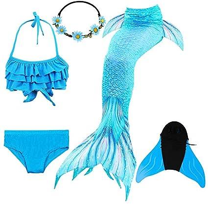 KJGFD Traje de baño con Cola de Sirena, Bikini para niñas de ...