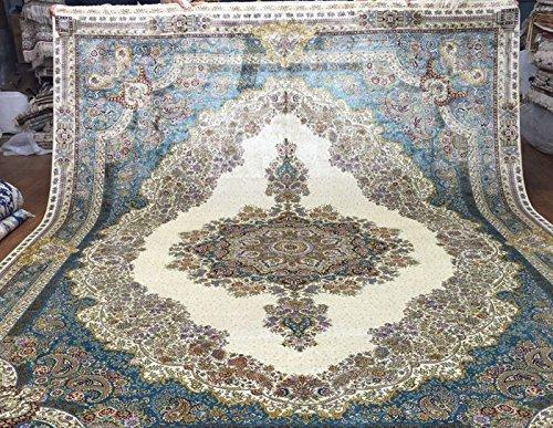 Harooni Ivory Sarouk Kerman Rug New Carpet Discounted 9'X 12' Silk