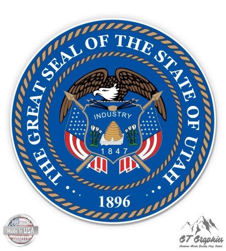 "Utah State Seal - 5"" Vinyl Sticker - For Car Laptop I-Pad - Waterproof Decal"