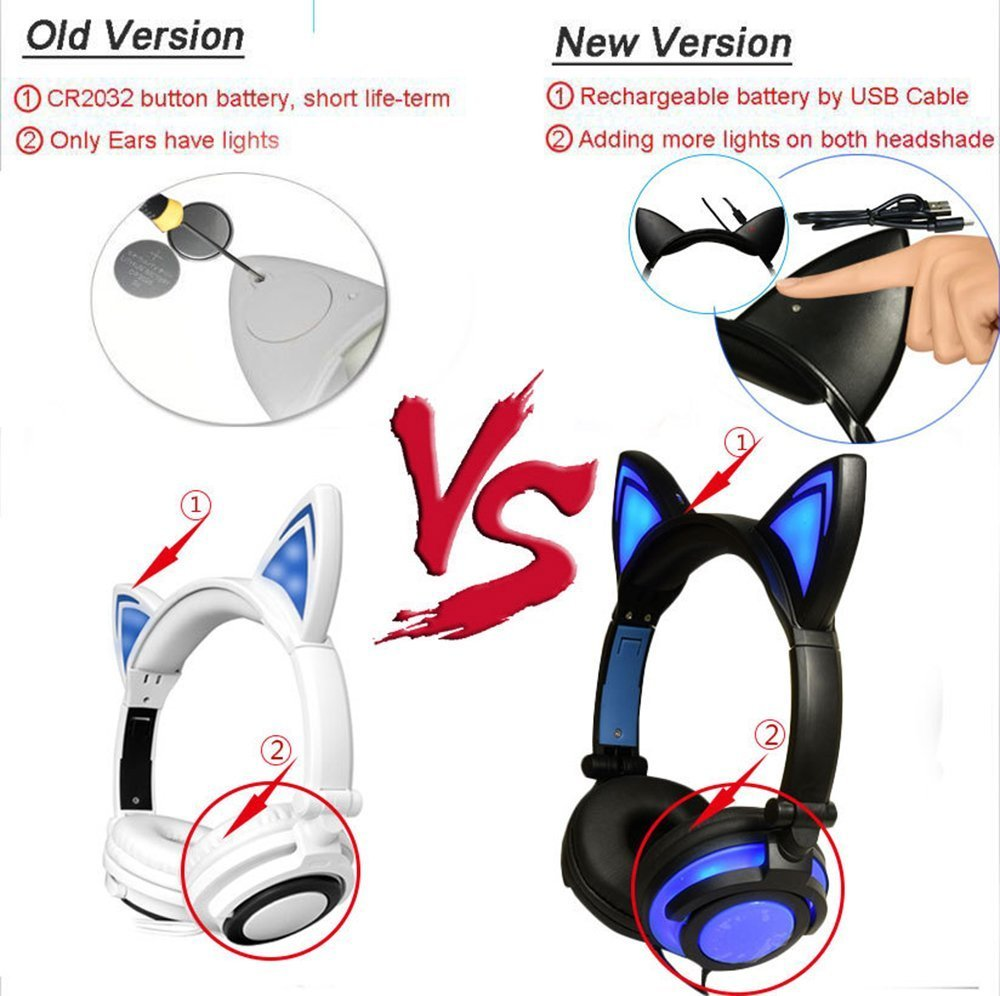 Kids Headphones Wired Over-ear Foldable LED Gaming Flashing Lights with USB Charger Earphone Headset for iPhone 6s,6s Plus,Android,iPad and Computer (Whiteπnk,New version)