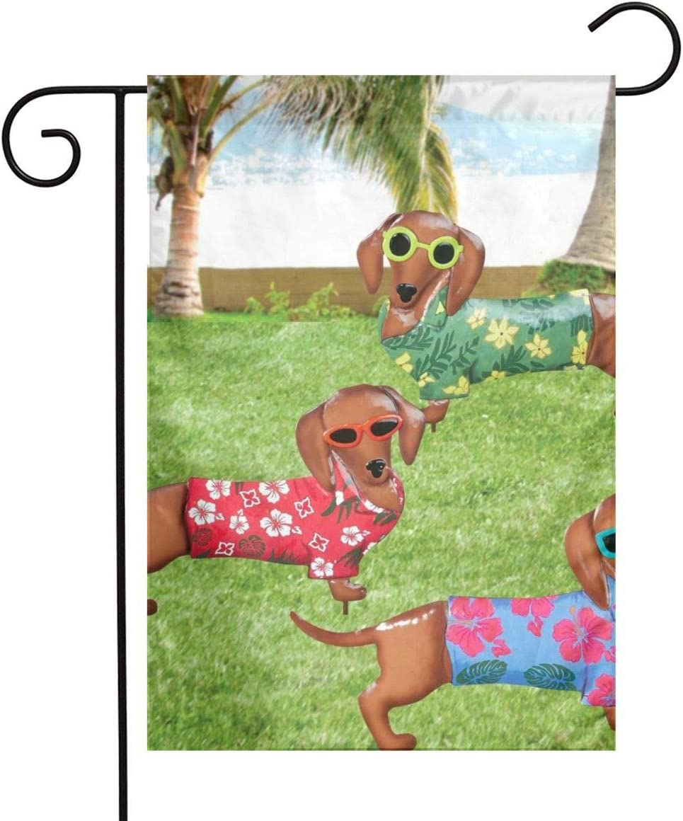 YangXiH Dachshund Tropical Garden Garden Flag House Yard, Seasonal Banner with Vivid Color and UV Fade Resistant for Outdoor/Indoor Home Decor Party and Garden Yard Decorations,12''x18''