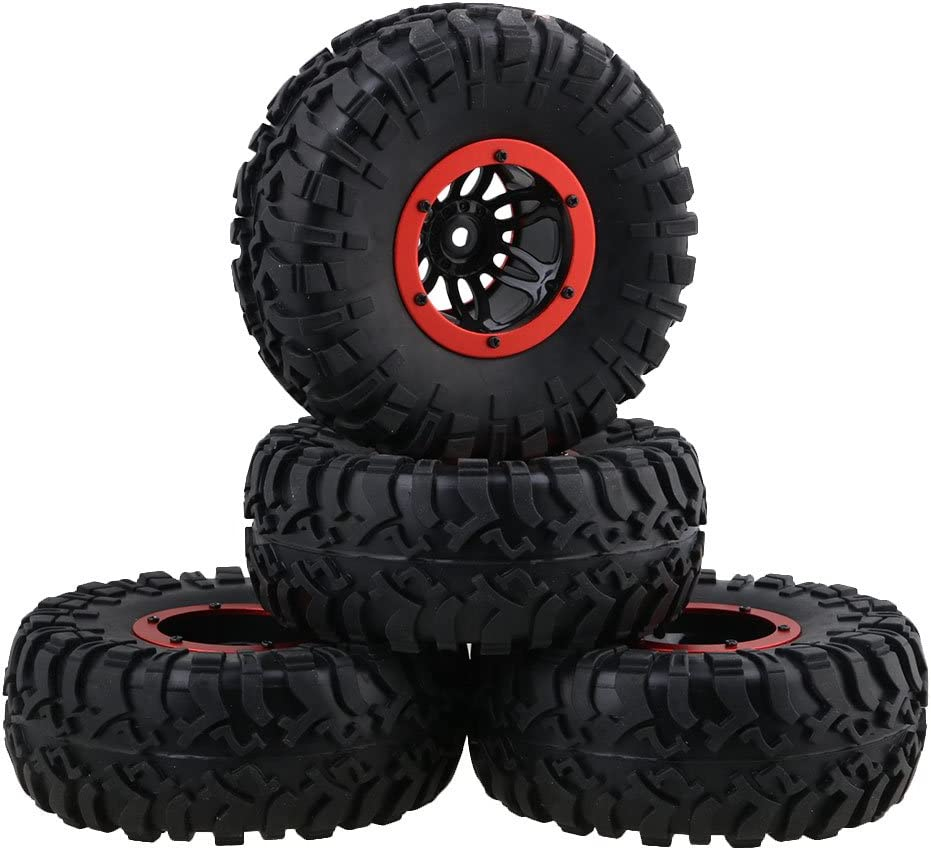 Mxfans 4PCS 2.2 Inch Black S Style Inflatable Tires W/ Red Alloy Beadlock Plastic 6-Spoke Wheel Rim for RC1:10 Largefoot Rock Crawler Car