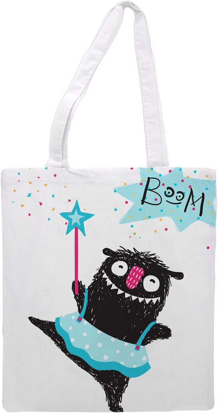 Womens Tote bag - Cute monster bag BOOM - Sports Gym Lunch Yoga Shopping Travel Bag Washable - 1.47X0.98 Ft
