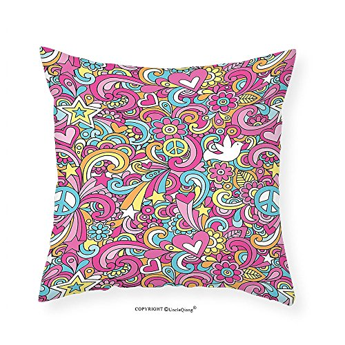 VROSELV Custom Cotton Linen Pillowcase 1960s Decorations Collection Psychedelic Groovy Peace Notebook Doodle Style Doves Education Swirly Starburst Image Bedroom Living Room Dorm Pink Blue Y 22