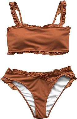 1cc0076b9aac1 CUPSHE Women's Striped with Ruffle Trim Bikini