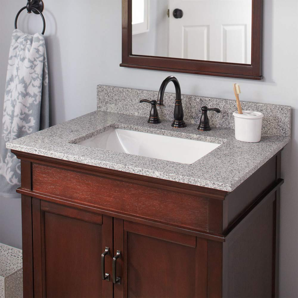CAHABA CAVT0150 31 x 22 Napoli Granite Vanity Top with trough bowl and 8 faucet spread