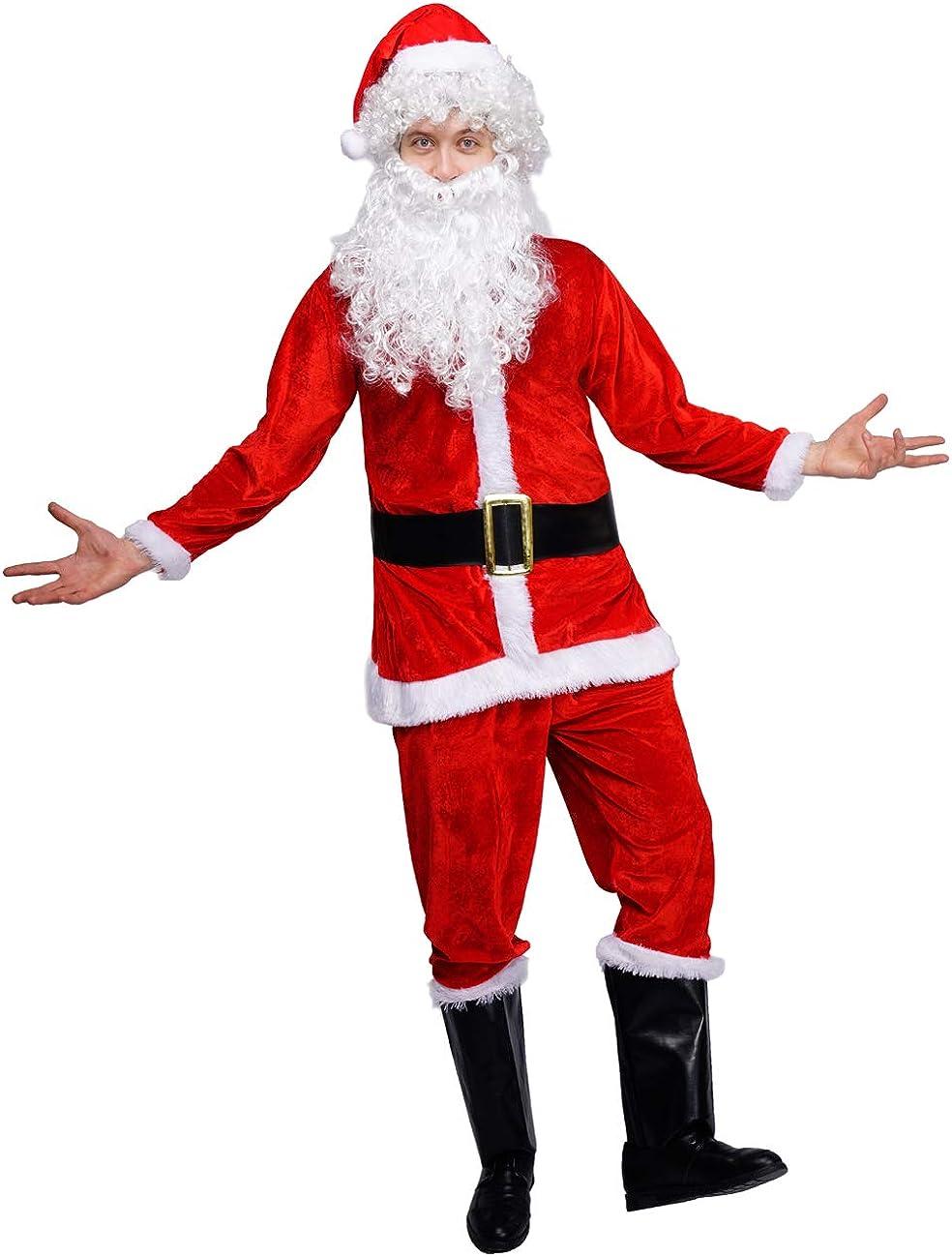 Adult 7 Piece Deluxe Santa Claus Suit Father Christmas Xmas Fancy Dress Costume