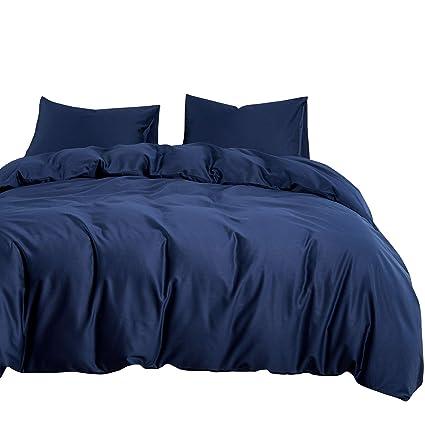 Amazoncom Wake In Cloud Navy Blue Duvet Cover Set 600 Tc Cotton