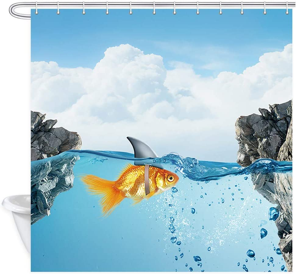 GoEoo Fish Decor Shower Curtain Goldfish with Shark Fin Comical Humorous Sea Animals Upgrade Polyester Fabric Bath Curtains Bathroom Accessories with 12PCS Hooks 72X72 Inches