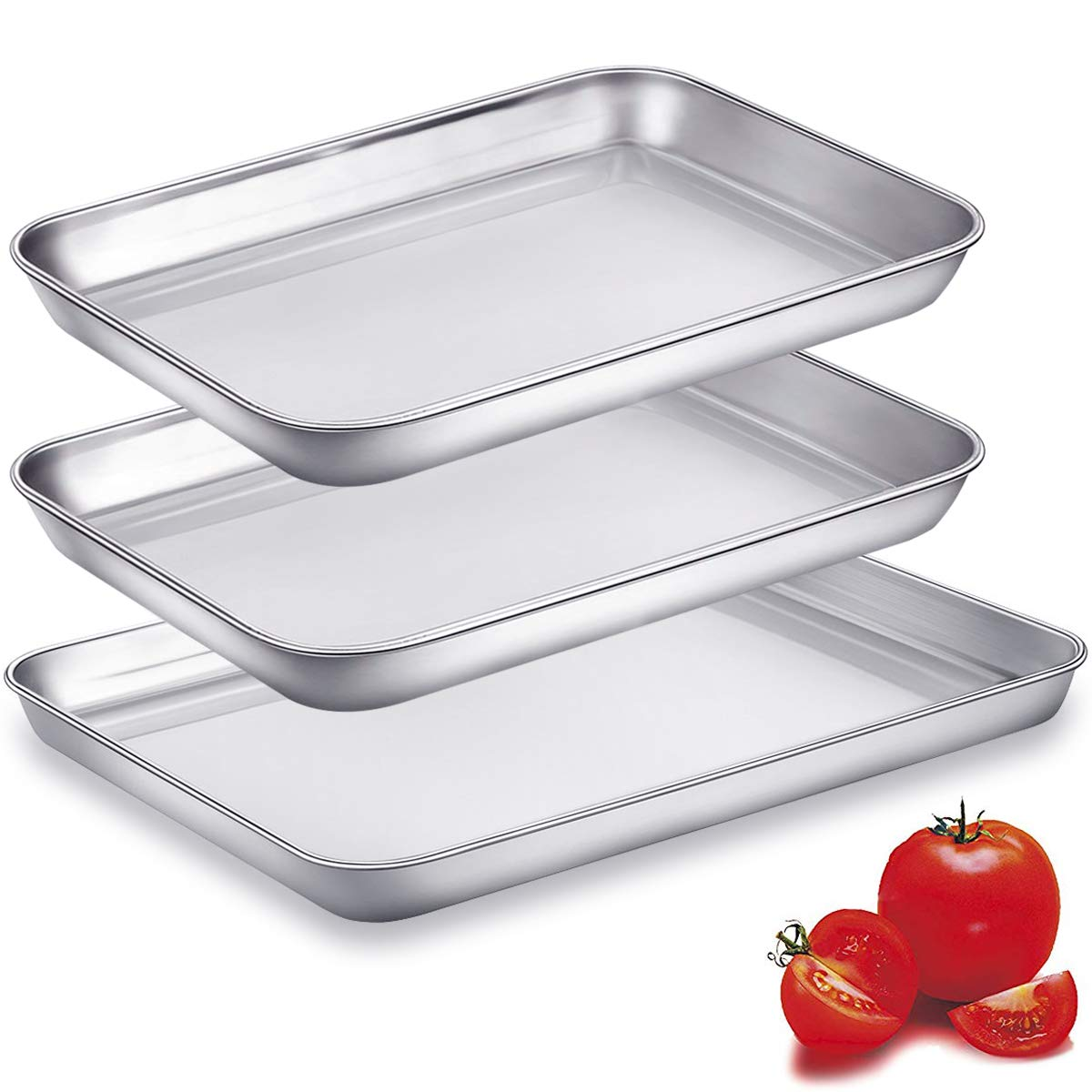 Baking Sheet Pans for Toaster Oven, Small Stainless Steel Cookie Sheets Metal Bakeware Pan, Sturdy & Heavy Rectangle Tray by Eaninno, 10 & 9 inch, 3 Piece/Set