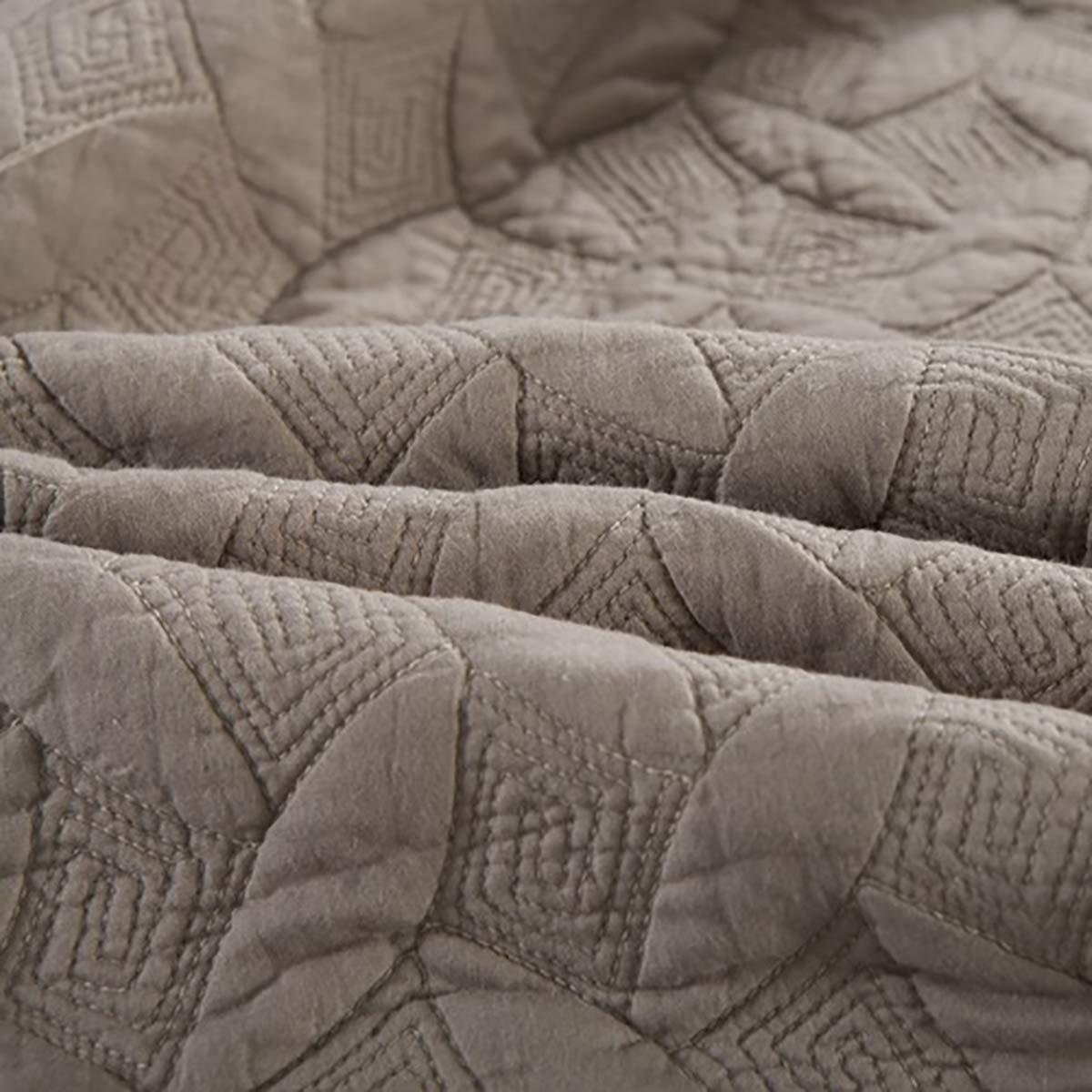 250cm WDXN Dessus De Lit Couvre Lit Couverture Matelass/é en Coton 100/% Couvre-Lits Brod/éS De Couleur Unie pour Toutes Les Saisons avec 2 Taies doreiller,White,230