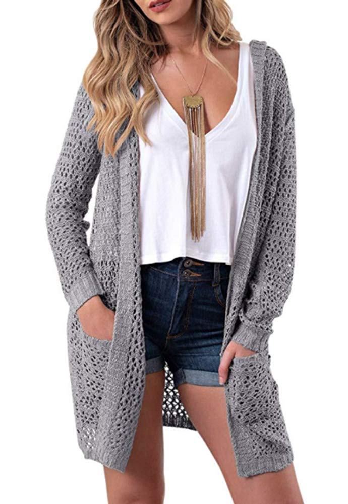 Eleter Women's Cardigan Sweater Open Front Hollow Out Crochet Knitted Hooded Coat Pockets(M,Grey)