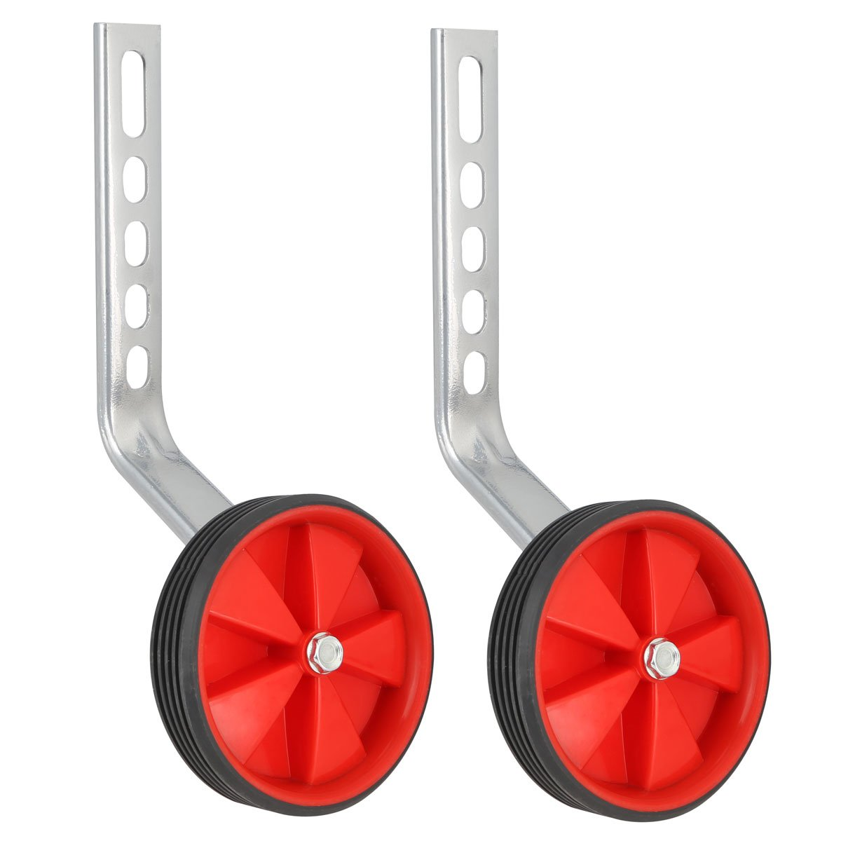 Herbalcandybox 1 Pair 4.33 Inch Kids Bicycle Training Replacement Wheels with Mounting Bracket for 12-20 Inch Kids Bike, Red01