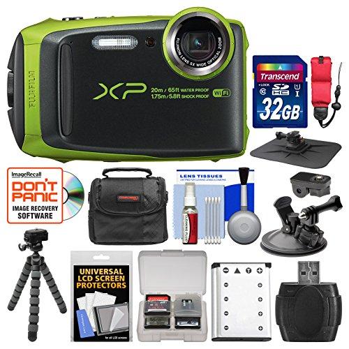 Fujifilm FinePix XP120 Shock & Waterproof Wi-Fi Digital Camera (Lime Green) with 32GB Card + Case + Battery + Flex Tripod + Strap + Car Mounts + Kit by Fujifilm