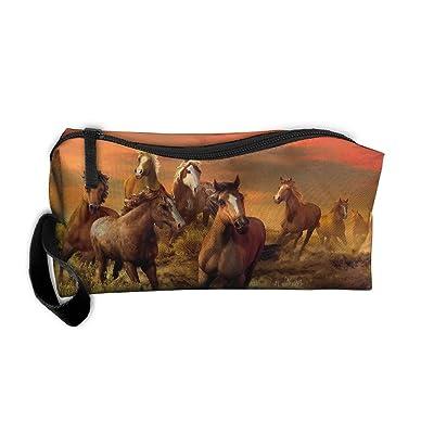 lovely Horse Painting Cosmetic Bags Brush Pouch Makeup Bag Zipper Wallet Hangbag Pen Organizer Carry Case Wristlet Holder