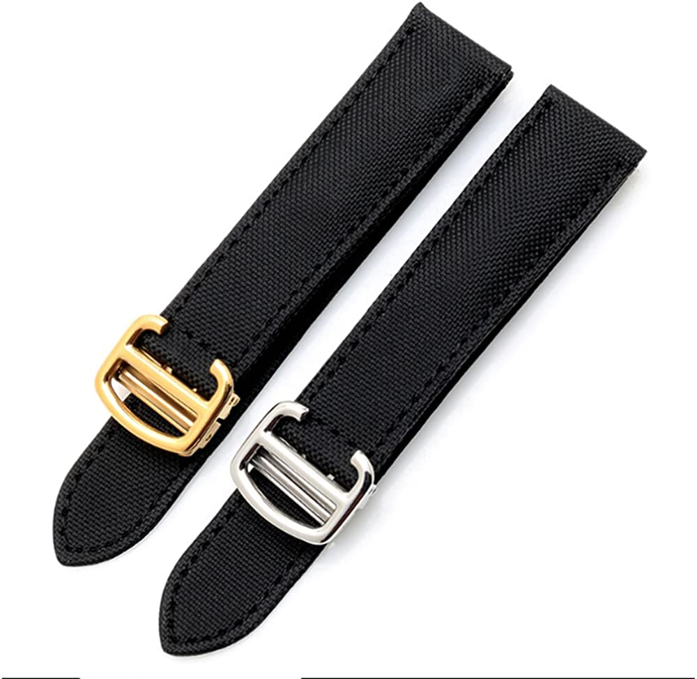 Canvas & Leather Watch Band Strap with 16mm18mm 20mm Fits for Cartier Tank Ronde Solo(Buckle)