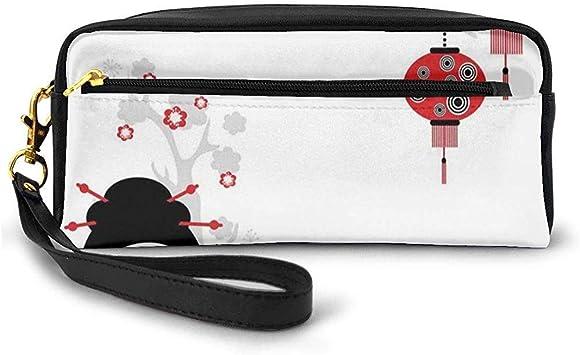 Geisha Mujer sosteniendo Abanico japonés Paisaje Floral Grúa Pájaro Felicidad Clásica Pequeña Bolsa de Maquillaje Estuche de lápices 20cm * 5.5cm * 8.5cm: Amazon.es: Equipaje