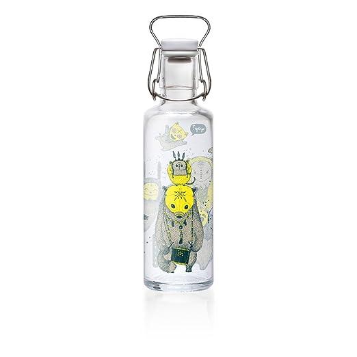 Botella de cristal Soulbottle, varios diseños, fabricada en Alemania, producto vegano, sin plástico, 0,6 l, Yap Yap, 600 ml: Amazon.es: Jardín