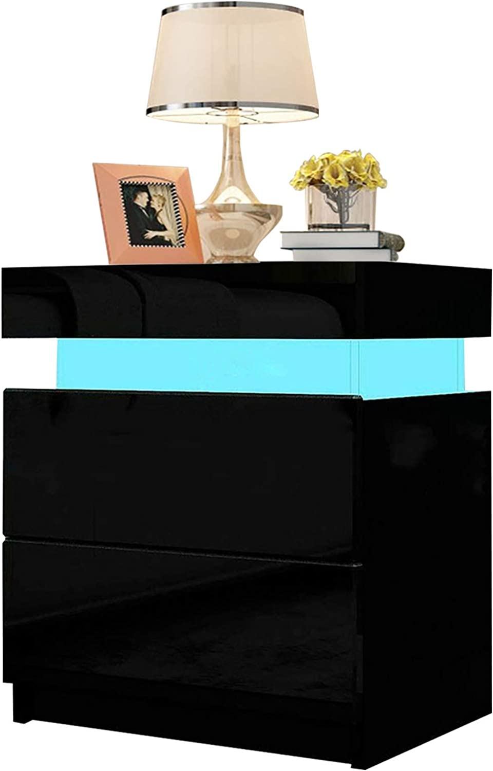 Dripex Bedside Table High Gloss Front 2 Drawers Nightstand cabinet with LED Lights for bedroom (Black, 45 x 35 x 52cm)