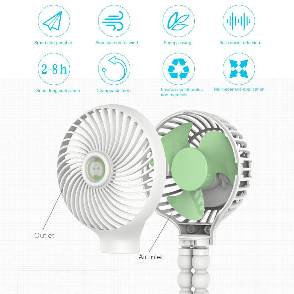 ventilateur de poche rechargeable USB avec fixation de tr/épied flexible sur poussette v/élo ventilateur de bureau /à 3 vitesses pour bureau de voiture Ventilateur de poussette pour b/éb/é