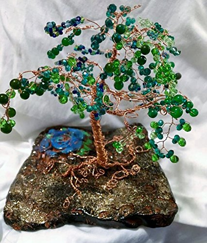 AAA Genuine Emerald Gemstone Tree, Cooper Wire, Tree of Life, Wire Tree Sculpture, Bonzai Tree, Handmade Tree, Hand Thrown Pottery Tree Of Life Pottery
