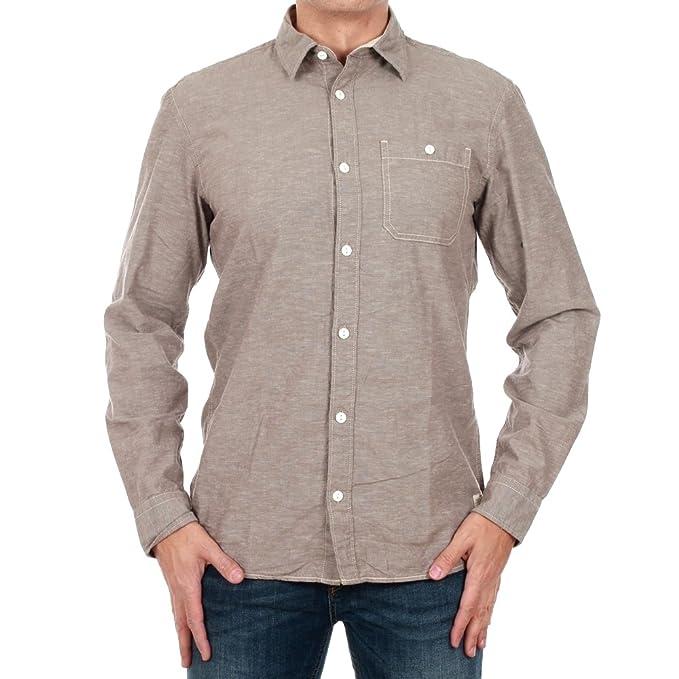 021259cf JACK & JONES Camisa Hombre S Marrón 12125005 JJVKELLS Shirt L/S Brindle/Slim