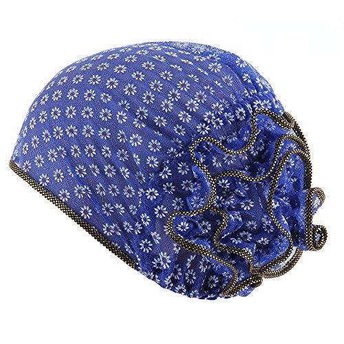 - BCDshop Women Muslim Elastic Turban Confinement Hats Head Wrap Headgear Hat Ponytail Hole Cap (Blue)