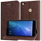 DMG Mi Max 2 Flip Cover, Premium PU Leather Wallet Case Book Cover with Stand and Card Slots for Xiaomi Mi Max 2 (Coffee Brown)