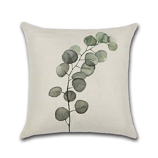 Dosige Funda de Almohada Plant Hug,Funda de Cojín Verde ...