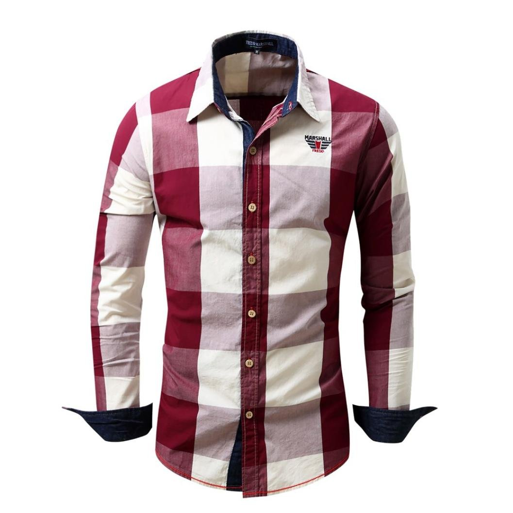 Livoty Men's Checked Shirt Long Sleeve Non-Iron Casual Blouse Cotton Slim Fit Plaid Top
