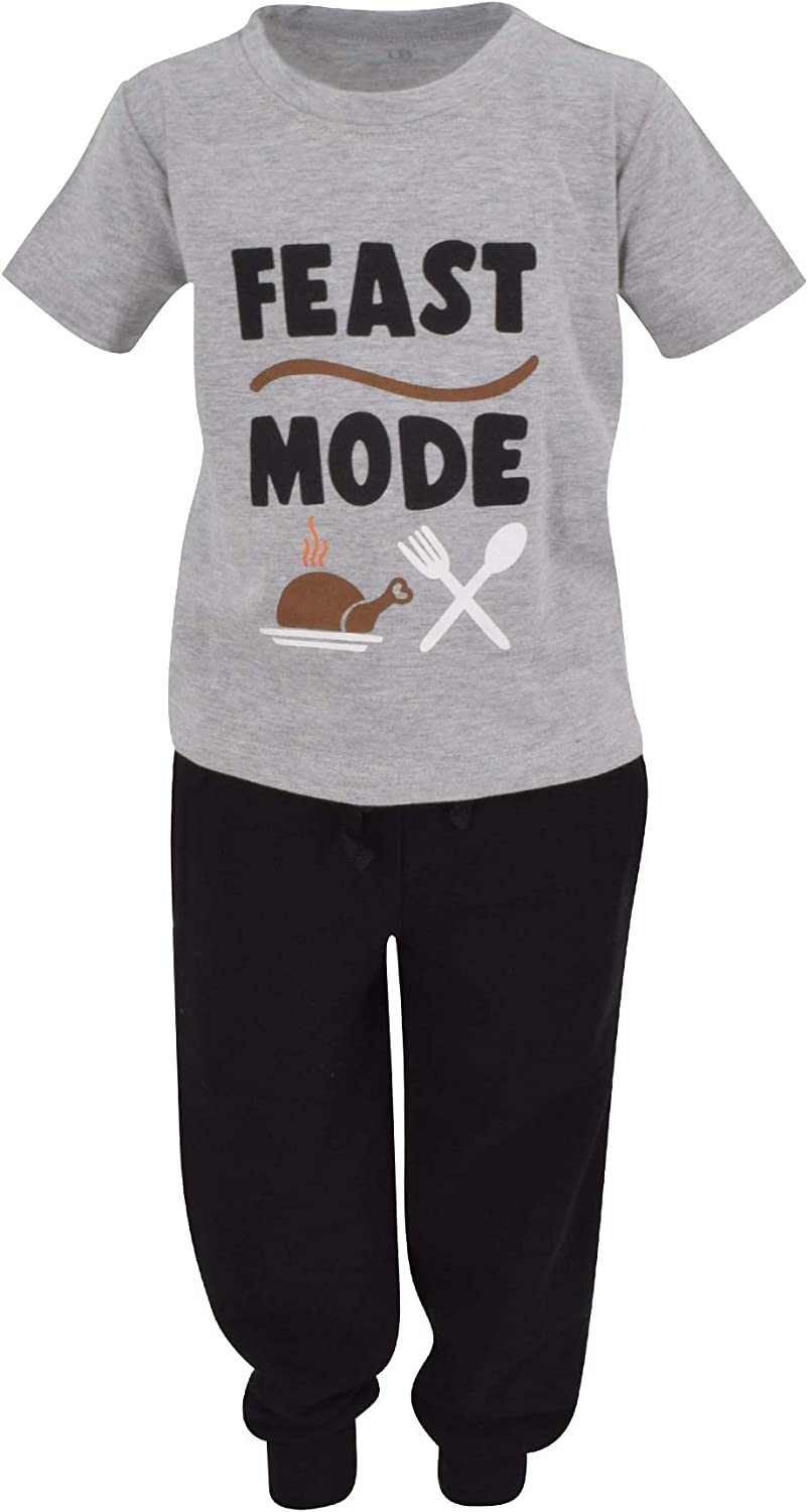 Unique Baby Boys Feast Mode Thanksgiving Outfit Shirt Jogger Sweat Pant