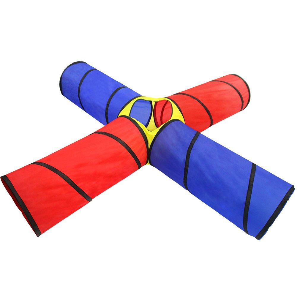 4-Way Tunnel Pop-up Fun Junction Set 8 Feet Toy Tent Kids Play Tube TKAS