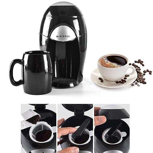 Sinbide Cafetera de Goteo con Filtro Permanente Reutilizable Máquina de Café Chocolate Té Función de Mantener Caliente Apagado Automático 190ML Negro