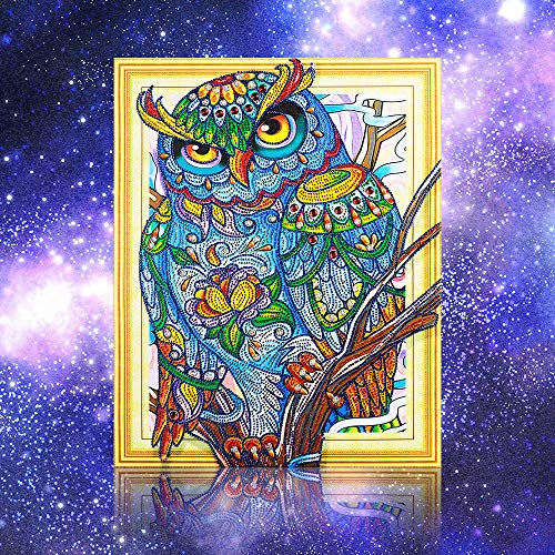 Hot Sale!UMFun Animal Diamond Painting Special Owl Shaped 5D DIY Diamond Mosaic Home Decor (B)