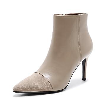 Amazon.com: Otoño e invierno mujer botas piel Sharp talón ...