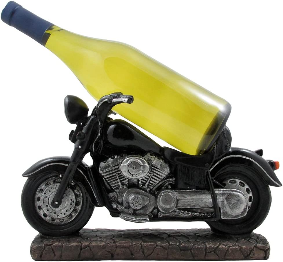 Classic Motorcycle Wine Bottle Holder Statue for Vintage Bike & Chopper Model Sculptures As Bar or Kitchen Decor Tabletop Wine Stands & Racks and Decorative Gifts for Bikers