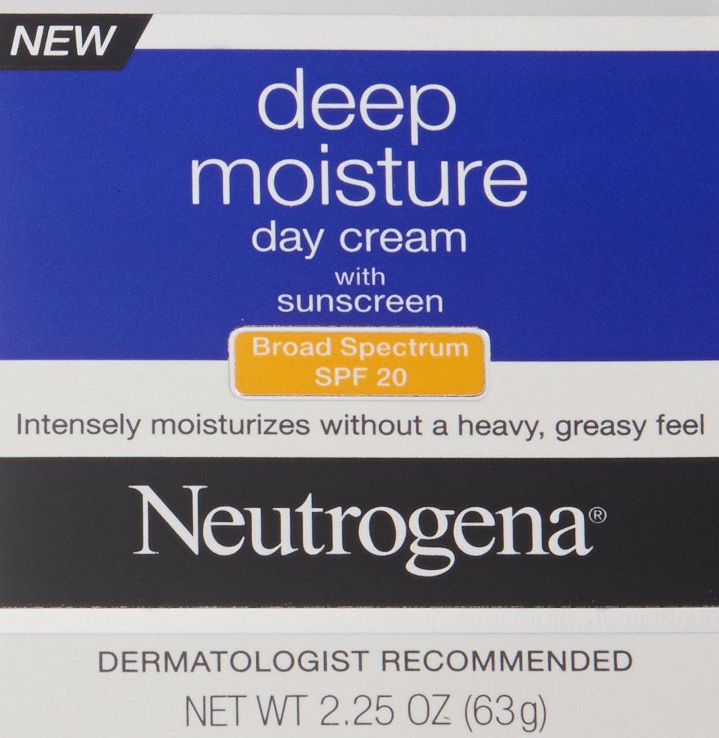 Neutrogena Deep Moisture Face Cream with SPF 20 Sunscreen, Glycerin, Shea Butter & Vitamin D3, Face moisturizer for dry skin - SPF moisturizer, Glycerin, Shea Butter, Vitamin D3, 2.25 oz