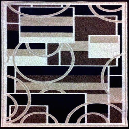 Americana Modern Square Geometric Area Rug Brown Design