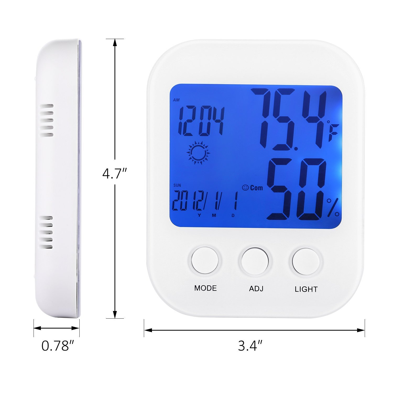 OffiHom Digital Hygrometer Indoor Thermometer Humidity Monitor Humidity Gauge LCD Display ℃/℉ Switch and Alarm Clock Function for Home Office Baby Room(White)