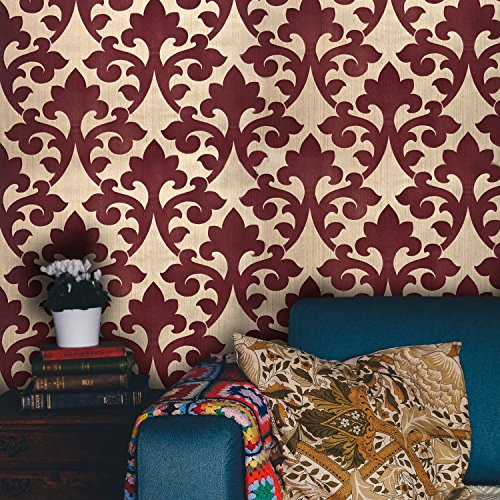 76 sq.ft Rolls Italian Portofino wallcoverings Modern Embossed Flocked Vinyl Non-Woven Wallpaper Gold Metallic Velour Burgundy Flocking Victorian Vintage Damask Flock Textured 3D Paste The Wall only ()