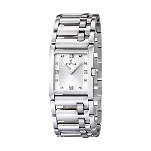 Festina F16550/3 - Reloj analógico de mujer de cuarzo con correa de acero inoxidable plateada: Amazon.es: Relojes