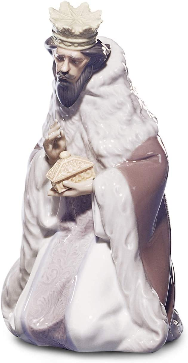 LLADR King Gaspar Nativity Figurine-Ii. Porcelain Three Wise Men Figure.