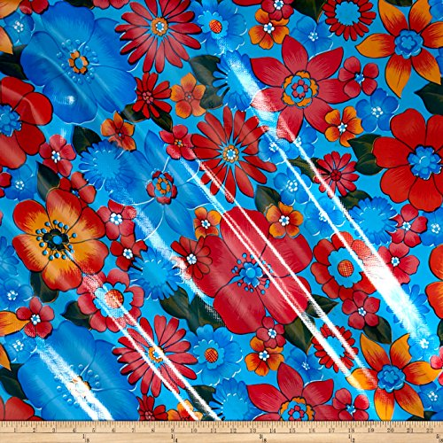 Oilcloth London Floral Light Blue Fabric By The Yard