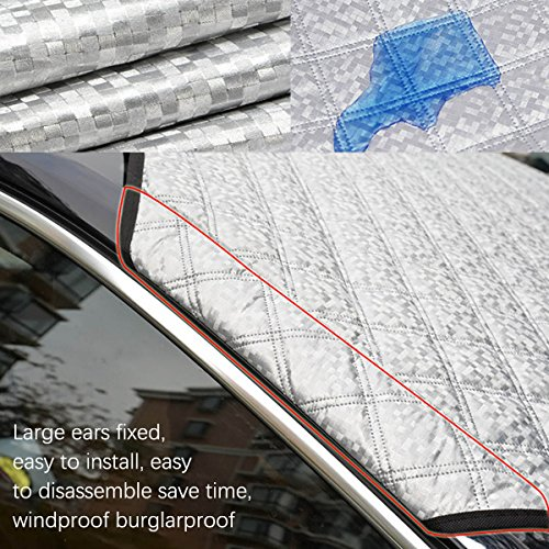 SuBleer Silver Car Windshield Cover for Ice and Snow Sun Shade UV Protection Sunshade Sunlight Blocker Waterproof/Windproof/Dustproof/Scratch (KM-L08R-Y9PS)