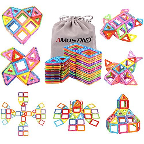 idoot Magnetic Blocks Building Set for Kids, Magnetic Tiles Educational Building Construction Toys for Boys & Girls with Storage Bag - 56Pcs]()